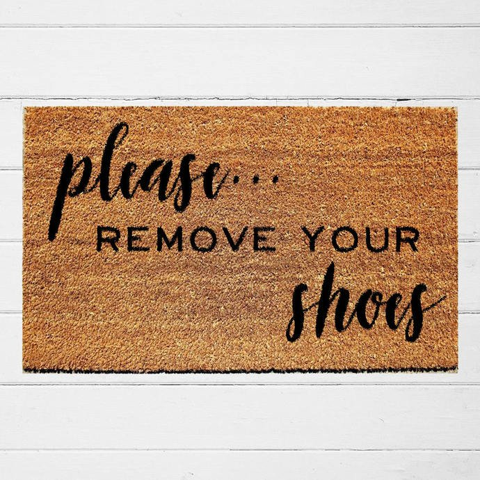 """image of a Coir doormat on floor with the text """"please REMOVE YOUR shoes"""""""